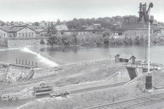 An historic photo of North Catasauqua's guard lock shows that during use the area was treeless.