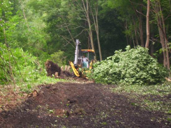 Crews work to clear new trail in Lehigh County.