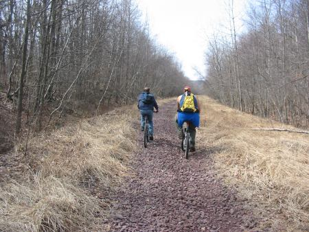 Photo 1: A backpack GPS plots the course of a proposed section of trail in Luzerne County.