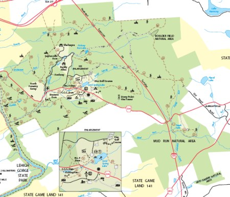 A downloadable map of Hickory Run State Park is available from the park's website.