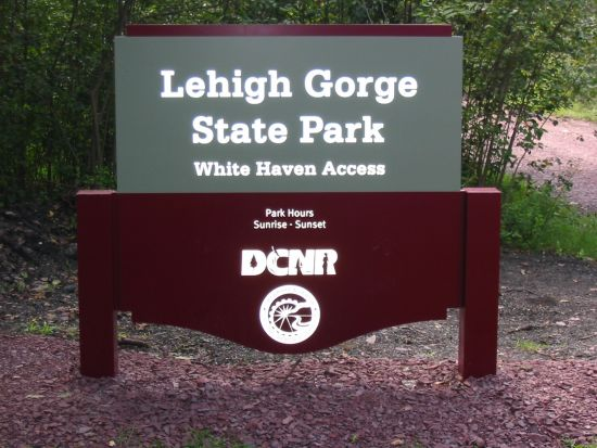 A new entrance sign welcomes visitors to Lehigh Gorge State Park.