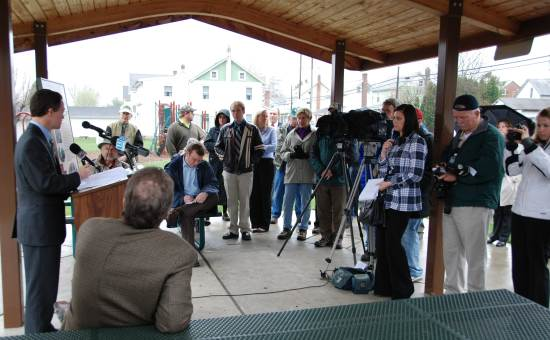 DCNR Secretary Quigley addresses D&L Trail advocates and members of the press at Monday's dedication.