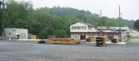Construction is underway on a community building for the Slatington trailhead.