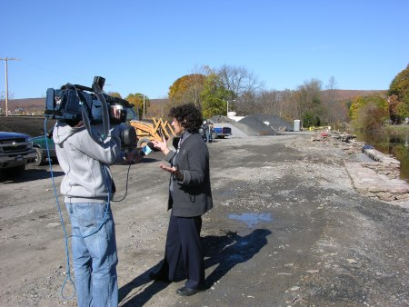 D&L Vice President Elissa Thorne provides the local TV station with a construction update
