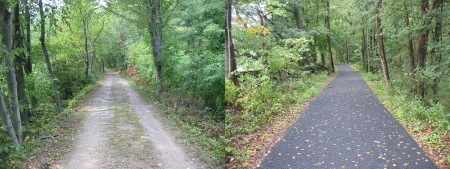 A before and after shot of trail resurfacing in Weissport.